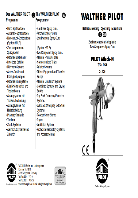 Misch-N Spray Gun Operating Manual PDF Download
